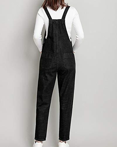 Salopette Combinaison Jumpsuit Lache Jeans Denim Cheville Kasen Droit Pantalon Femme Bavoir Noir qAYE4E