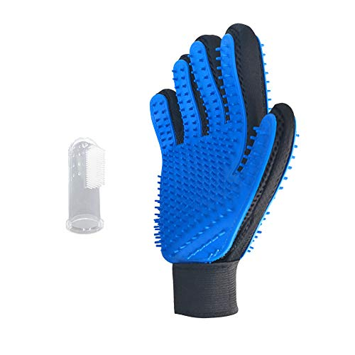 Lihui Pet Grooming Gloves for Dogs Cats Rabbits and Horse – Gentle Deshedding Brush Glove. Efficient Pet Hair Remover…