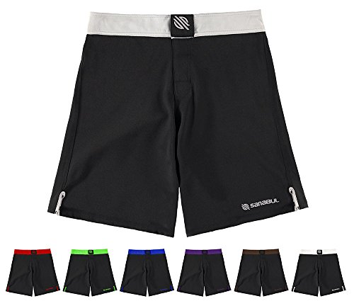 Sanabul Essential MMA BJJ Cross Fit Workout Shorts (30″ W, Silver)