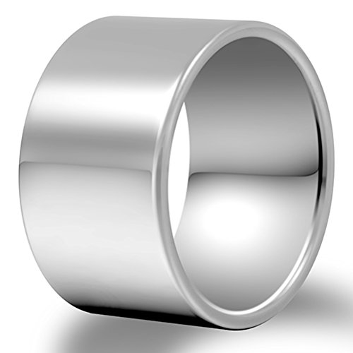 Men 14mm Big Tungsten Best Ring Silver Classic Wedding Engagement Band High Polished Flat Top Comfort Fit Size (Art Deco Wedding Band Platinum)