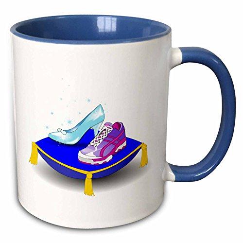 3dRose InspirationzStore Sports - Running shoe and Princess glass slipper high heel on pillow. Girl woman runner run track race racing - 15oz Two-Tone Blue Mug (mug_161510_11) ()