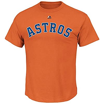 MLB Men's Team Wordmark II Cotton Crew Neck T-Shirt (Medium, Houston Astros Orange)