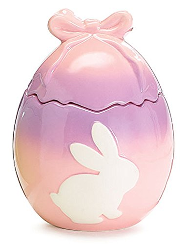 Cookie Jar Spring Easter Bunny Egg Shaped with Bow in Ombre