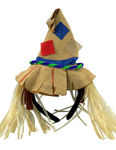 Straw Scarecrow Hat (Halloween Scarecrow Hat with Hair Headband Costume Accessory)
