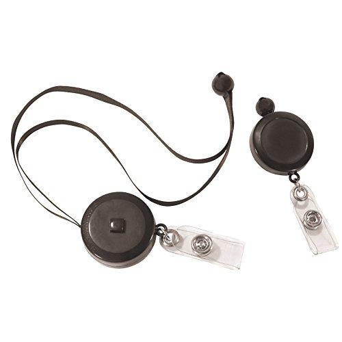 C-Line Retractable Adjustable Neck Lanyard, Black, 30 Inches, 12 per Pack (88051)