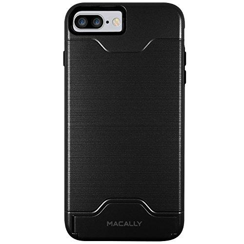 Macally kstandp7l-b PC/TPU avec avec support et emplacements pour cartes pour iPhone 7Plus–Noir