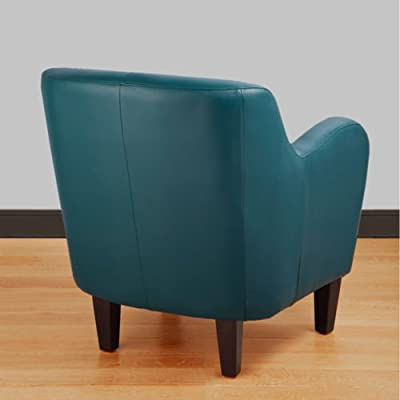 A Bonded Leather Teal Turquoise Arm Tub Chair Is a Perfect Finish to an Elegant Dining Room Lounge Design! Almost a Light Blue This Armchair Features Dark Brown Espresso Wood Legs to Accent Any Home, Office, Lounge or Bar! Modern Living Room Design!