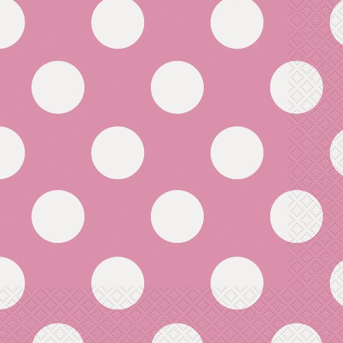 Hot Pink Polka Dot Paper Napkins, 16ct