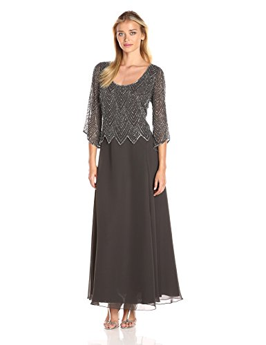 J Kara Women's Scoop Neck 3/4 Sleeves Long Dress, Slate/MERC/Coal/Silver, 12