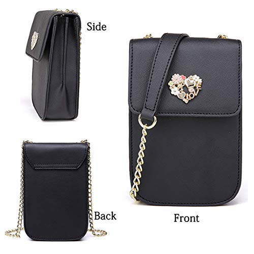 Small Shoulder Cell Phone Split Black Bag NP1576 Girls Leather Crossbody Purse Women Cute Wallet 8qREFyI