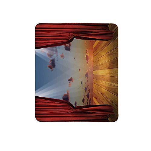 Musical Theatre Home Decor Non Slip Mouse Pad,Dreamlike Fantasy Stage with Drapes Dramatic Cloudy Sunset Sky for Home & Office,11