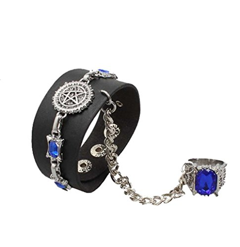 Anime Halloween Black Butler (Touirch Anime Black Butler Leather kuroshitsuji Alloy Bracelet And Ring)