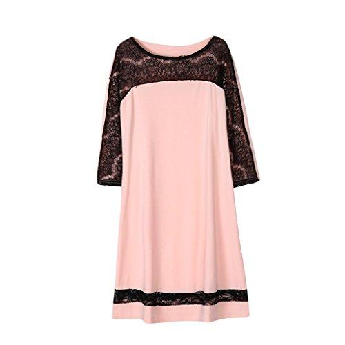 Plus Size Dress,Lamolory Women's Long Sleeve A-Line Lace Stitching Trim Casual Dress (Pink, XXXL) by Lamolory womens dresses