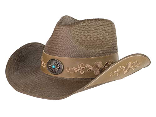 Brown Toyo Straw Cowboy Hat, Shapeable Flower Embroidered Cowgirl Hat w/Turquoise Concho