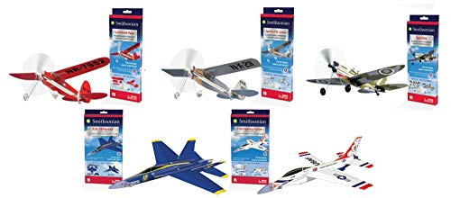 Smithsonian Classic Flying Airplane Set - 5 Flying Model Plane Kits in One Set - F-16 Fighting Falcon, F/A -18 Hornet, Spitfire, Spirit of St. Louis and Lockheed Vega ()