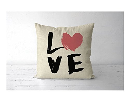 LOVE Pillowcase - pillow cover love print - love print pillowcase - gift for her - gift for wife - valentines day gift - heart pillow cover - valentine decor - Queen 62 Street