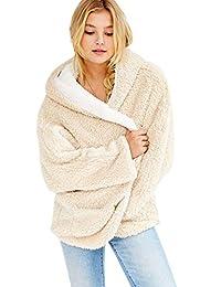 Flygo Women's Reversible Faux Fur Winter Hooded Cardigan Coat Fuzzy Fleece Jackets