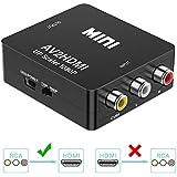 KLKE RCA to HDMI Converter 1080P Mini CVBS to HDMI Composite Video Audio Converter AV to HDMI Converter Supports NTSC PC Laptop Xbox PS4 PS3 TV STB VHS VCR Camera DVD