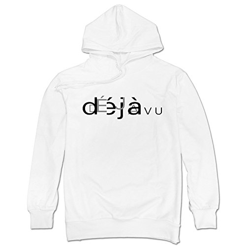 TIKE Men's Deja Already Seen Vu Hooded Sweatshirt Color White Size L