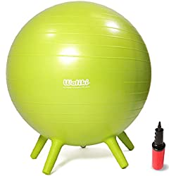 """WALIKI TOYS Children's Chair Ball with Feet, Alternative Classroom Seating (Inflatable Balance Ball Chair With Stability Legs for School, Pump Included, 18""""/45CM, Green)"""