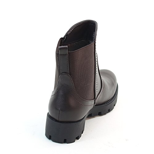 New Brieten Womens Low Chuncky Heel Stretch Ankle Booties Brown TlaEE90cYL