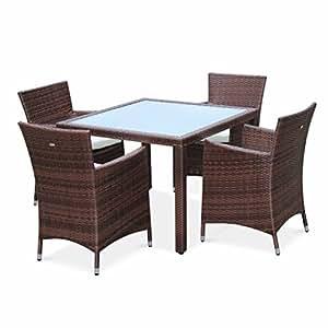 Alice's Garden - Conjunto de mesa y sillas de jardín de ratan sintético, 4 plazas, Marrón - Gesini