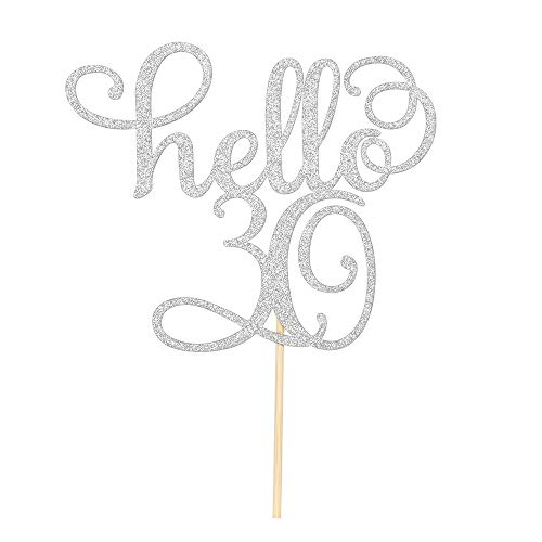 Sliver Glitter Hello 30th Cake Topper - Cheer to 30 Years -30 and Fabulous Cake Topper - 30th Birthday/Wedding Anniversary Party Sign Decorations