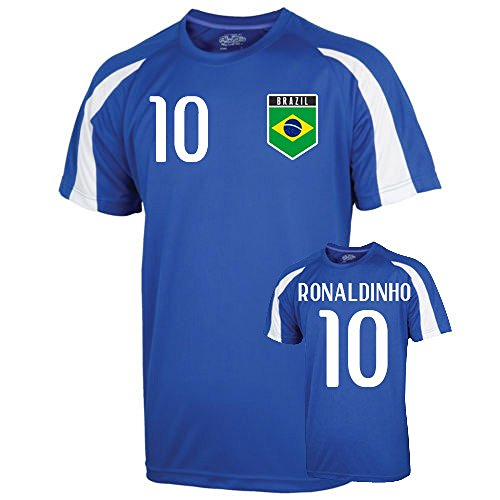 Ronaldinho Apparel - UKSoccershop Brazil Sports Training Jersey (Ronaldinho 10) - Kids