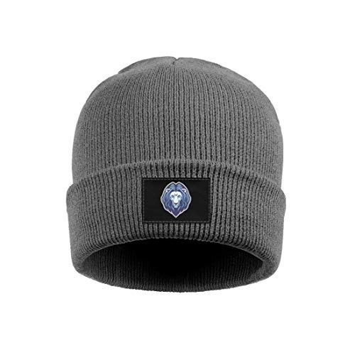 Men and Women Beanie Hat Blue Leo Sign Lion Style Slouch Fine Knit Cap ()