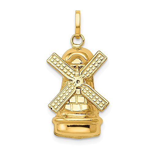 - 14k Yellow Gold Windmill Pendant Charm Necklace Travel Transportation Fine Jewelry Gifts For Women For Her