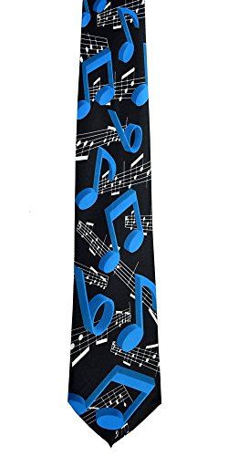 Musical Notes Mens Necktie (New Mens Blue Musical Notes Fashion Necktie 8)