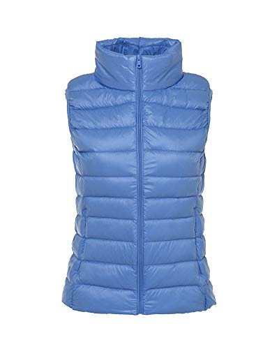 Aden Women's Winter Stand Collar Quilted Down Gilet Coat Vest Ultra Light Weight Packable Puffer Jacket Waterblue