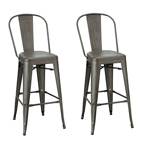 """Adeco 2016 New 30"""" Industrial Chic Metal Barstool with High"""