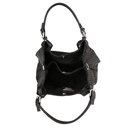Frau Handtasche mit Schultergurt in echtem Leder geflochtenes Muster Made in Italy Chicca Borse 34x29x18 Cm Schwarz