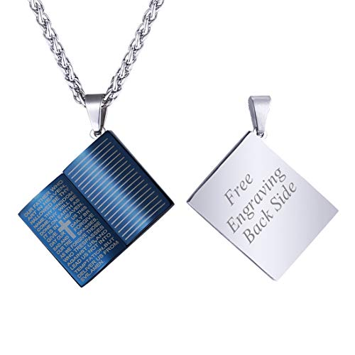 U7 Serenity Prayer Necklace with 22 Inch Stainless Rope Ion-Plating Blue Metal Mini Holy Bible Book Shaped Pendant, with Customized Engraving Back Side