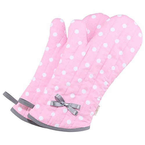 Neoviva Cotton Twill Quilted Oven Mitt for Adult Women, Set of 2, Polka Dots ()