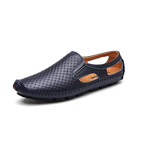 Men's Blue 2018 amp; HUAN Shoes Black Brown for ONS Summer Blue Slip Comfort Loafers Outdoor Shoes Leather Driving TggUw