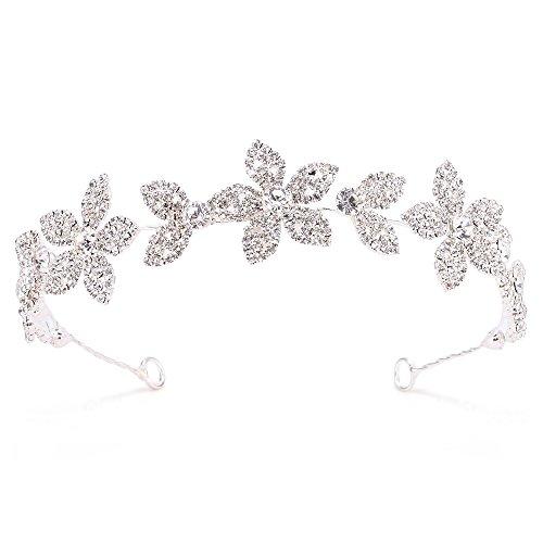 Rhinestone Headpiece, FANGZHIDI Bridal Headdress Shimmer Headband Tiara Crown with Pearl Hair Vine Metal Leaves- Best for Flower Girl Women, Perfect for Wedding Party, School Day (K0003-S)