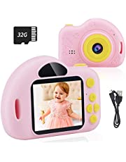 $21 » CHUNXU Kids Camera,Digital Video Camera for 3-10 Years Old Girls Boys,32GB SD Card Rechargeable Battery Compact Cameras for Children Birthday (Pink)