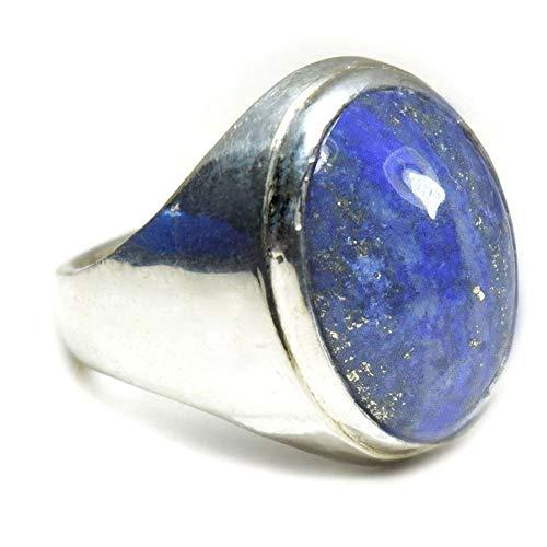 (Jewelryonclick Real 7 Carat Lapis Lazuli Bold Silver Ring for Men Chakra Healing Size 5,6,7,8,9,10,11,12)