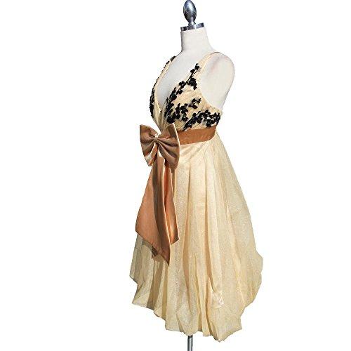 Aris A. Aris A. Women's Romantic Lace Applique Champagne Short Dress Dentelle Romantique Appliqué Féminin Champagne Robe Courte