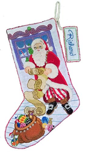 Crewel Embroidery Christmas Stockings - 'Naughty or Nice' Crewel Christmas Stocking