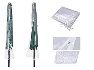 STW - Cubierta protectora para toldo de PVC transparente impermeable al aire libre para paraguas de 1,52 m a 2,54 m