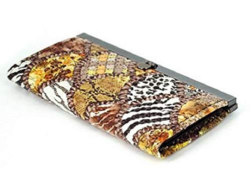 (12 Compartment Faux Leather Women's Clutch Purse With Brown Leopard Skin Pattern)