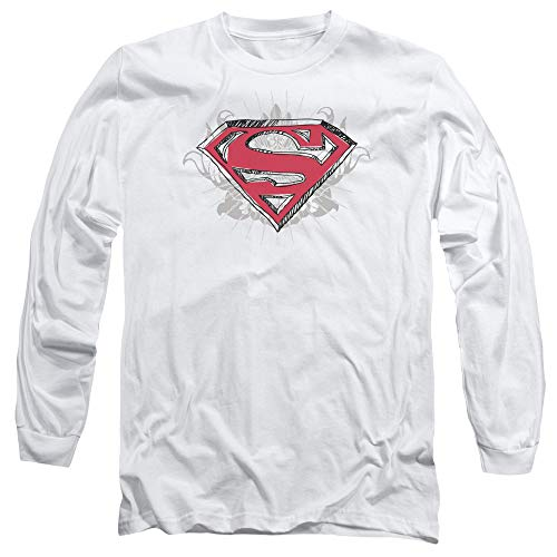 Superman Hastily Drawn Shield Unisex Adult Long-Sleeve T Shirt for Men and Women, X-Large White ()