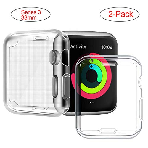 Acode Series 3/2 38mm Case Compatible with Apple Watch Screen Protector, Overall Protective Case TPU High Definition Clear Ultra-Thin Cover Compatible with iWatch Case Series 3/2 (2 Pack)