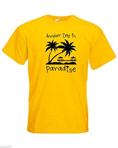 Paradise Palmiers amp; Day Décalque Concevoir De shirt Au En Citation Avec Plage Soleil Coucher Bungalows Another Hommes Gratuit T Hasard Jaune Chalets Cadeau qaCzw8q