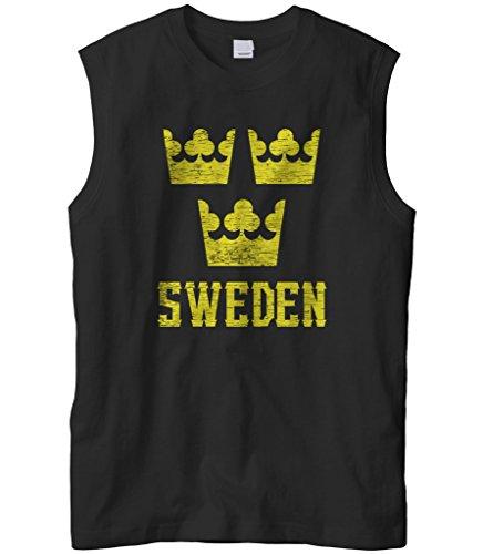 Three Crowns Soccer T-shirt - Cybertela Men's Sweden Three Crown National Emblem Sleeveless T-Shirt (Black, Medium)