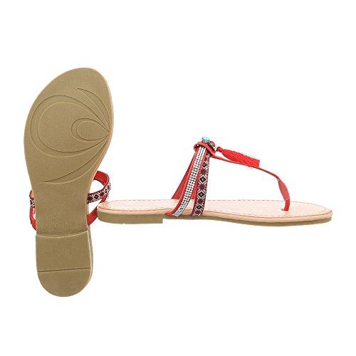 Ital-Design Zehentrenner Damenschuhe Blockabsatz Sandalen & Sandaletten Rot PM200