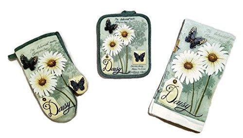 Butterfly Daisy Linen 3 Piece Bundle Package Oven Mitt (1) Pot Holder (1) Kitchen Towels (1) (#4323)